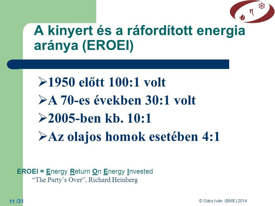 A kinyert és a ráfordított energia aránya (EROEI)