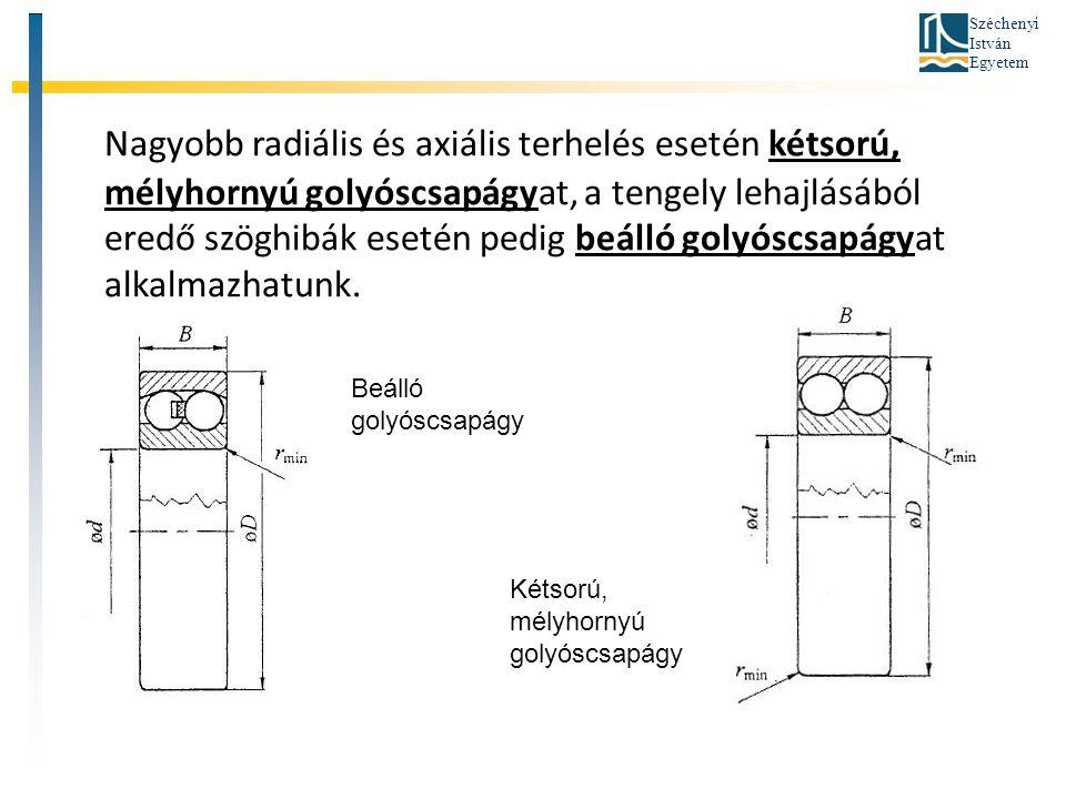 Nagyobb radiális és axiális terhelés esetén kétsorú, mélyhornyú golyóscsapágyat, a tengely lehajlásából eredő szöghibák esetén pedig beálló golyóscsapágyat alkalmazhatunk.