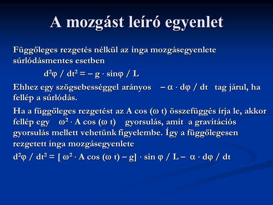 A mozgást leíró egyenlet