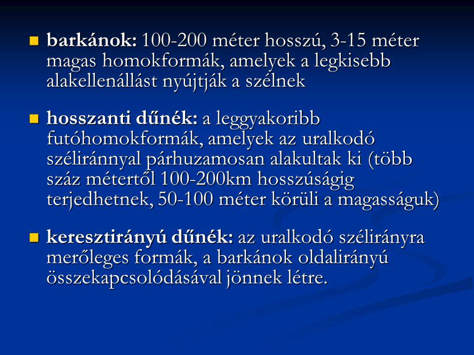 barkánok: 100-200 méter hosszú, 3-15 méter magas homokformák, amelyek a legkisebb alakellenállást nyújtják a szélnek