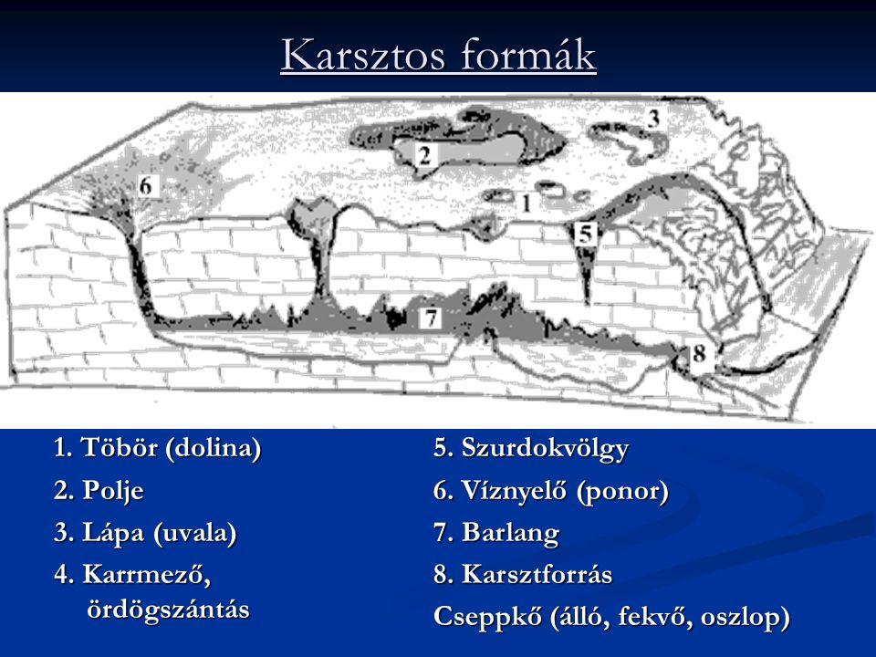 Karsztos formák 1. Töbör (dolina) 2. Polje 3. Lápa (uvala)