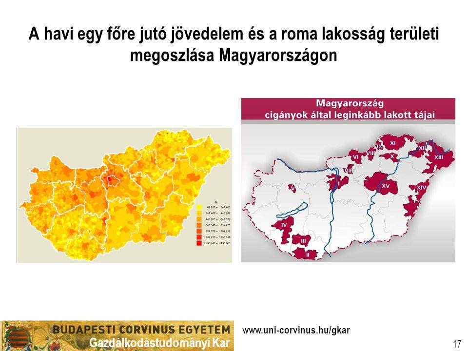 A havi egy főre jutó jövedelem és a roma lakosság területi megoszlása Magyarországon