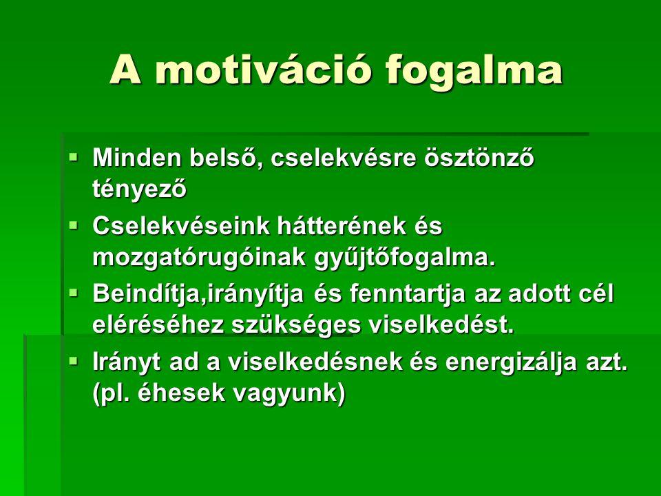 A motiváció fogalma Minden belső, cselekvésre ösztönző tényező