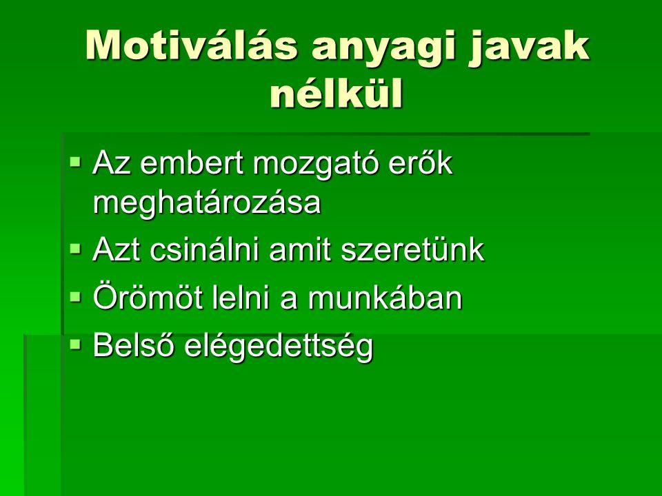 Motiválás anyagi javak nélkül