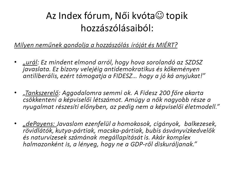 Az Index fórum, Női kvóta topik hozzászólásaiból: