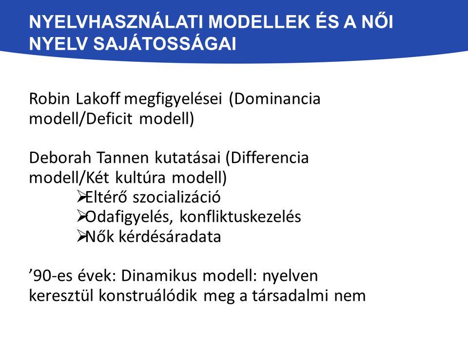 Nyelvhasználati modellek és a női nyelv sajátosságai