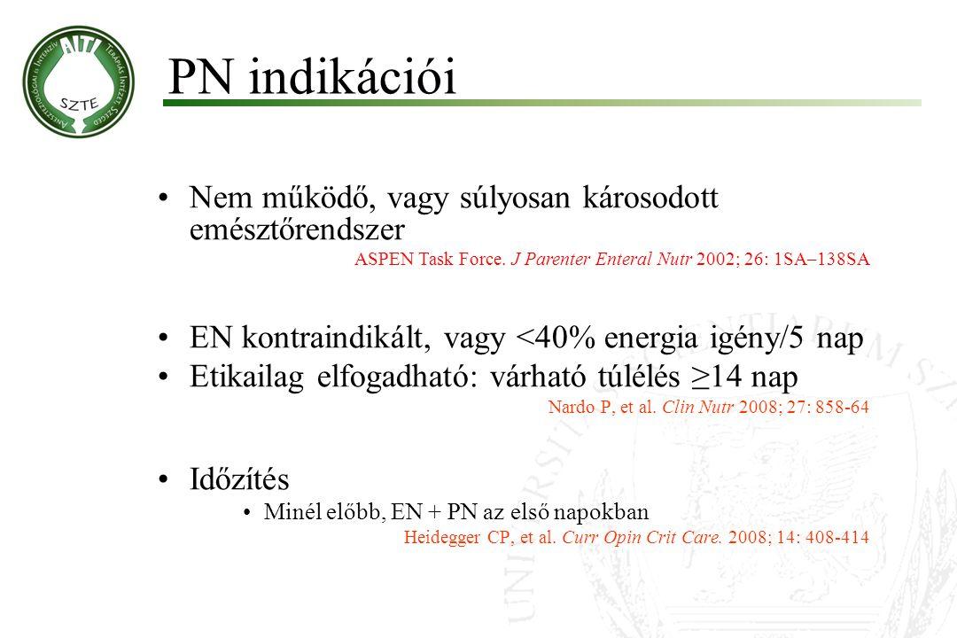 PN indikációi Nem működő, vagy súlyosan károsodott emésztőrendszer