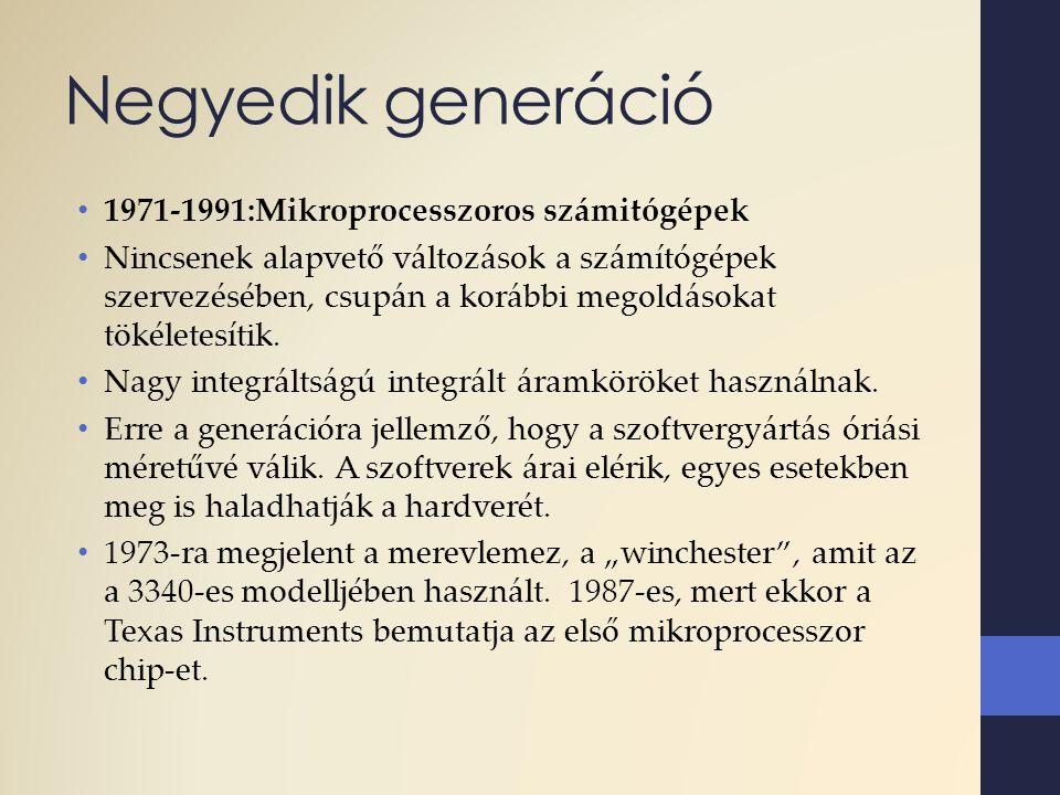 Negyedik generáció 1971-1991:Mikroprocesszoros számitógépek