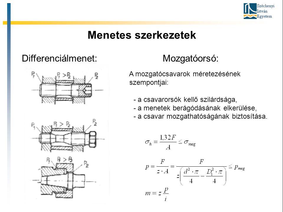 Menetes szerkezetek Differenciálmenet: Mozgatóorsó: Gépszerkezettan II