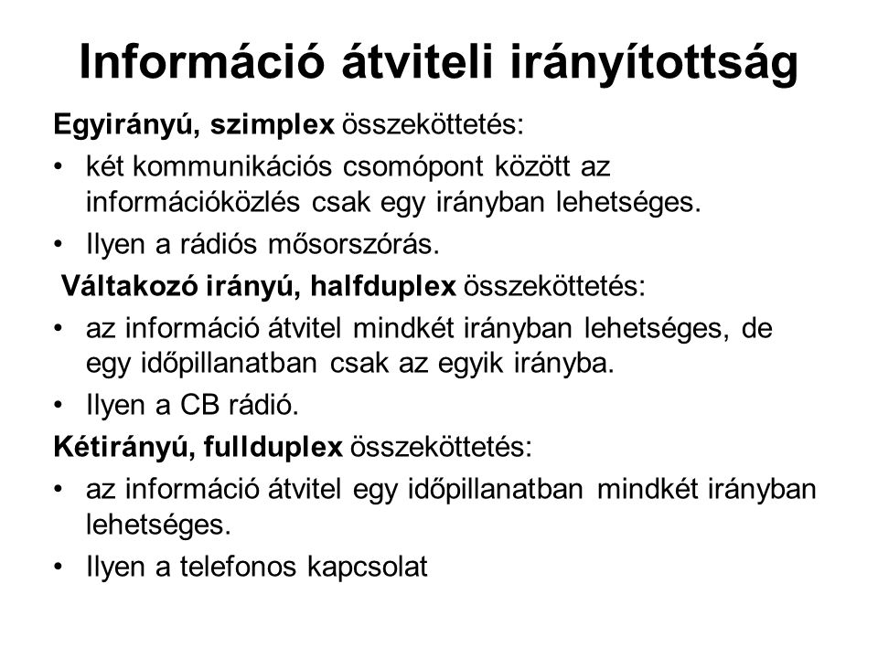 Információ átviteli irányítottság