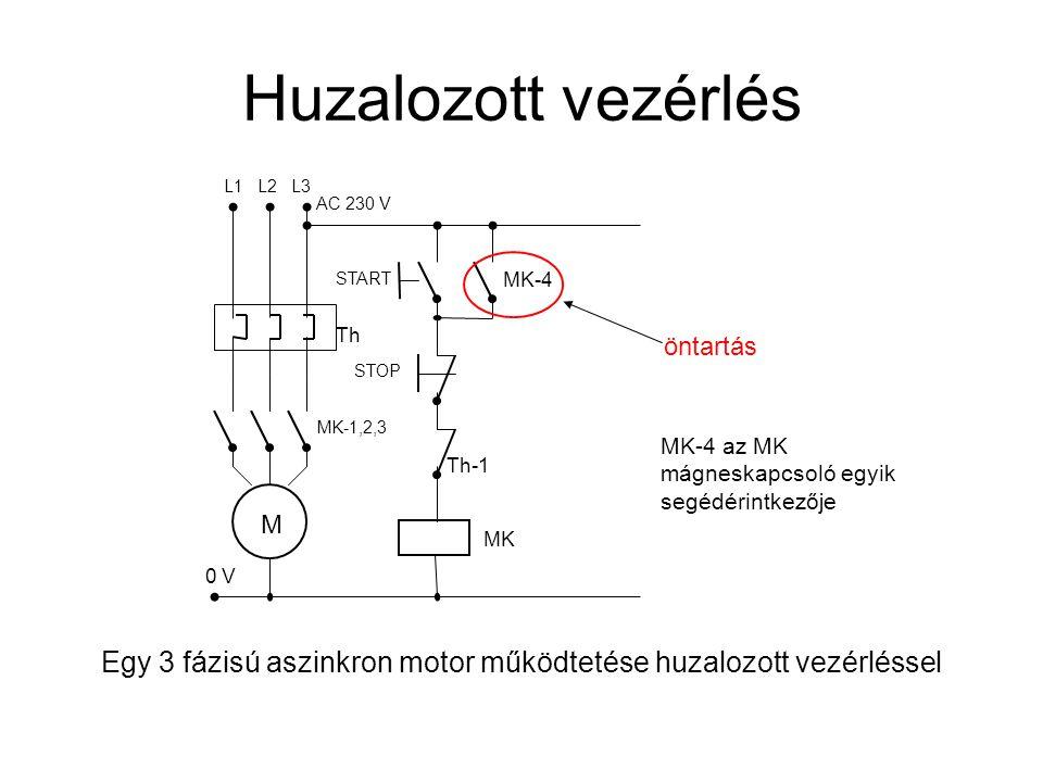 Egy 3 fázisú aszinkron motor működtetése huzalozott vezérléssel