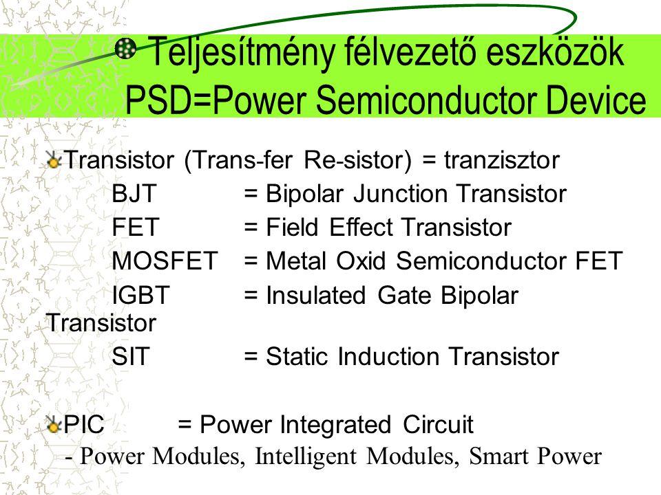 Teljesítmény félvezető eszközök PSD=Power Semiconductor Device