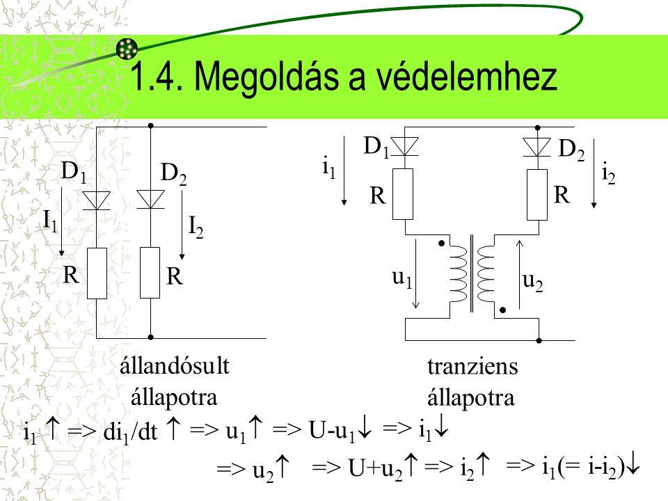 1.4. Megoldás a védelemhez állandósult állapotra R D1 D2 I1 I2