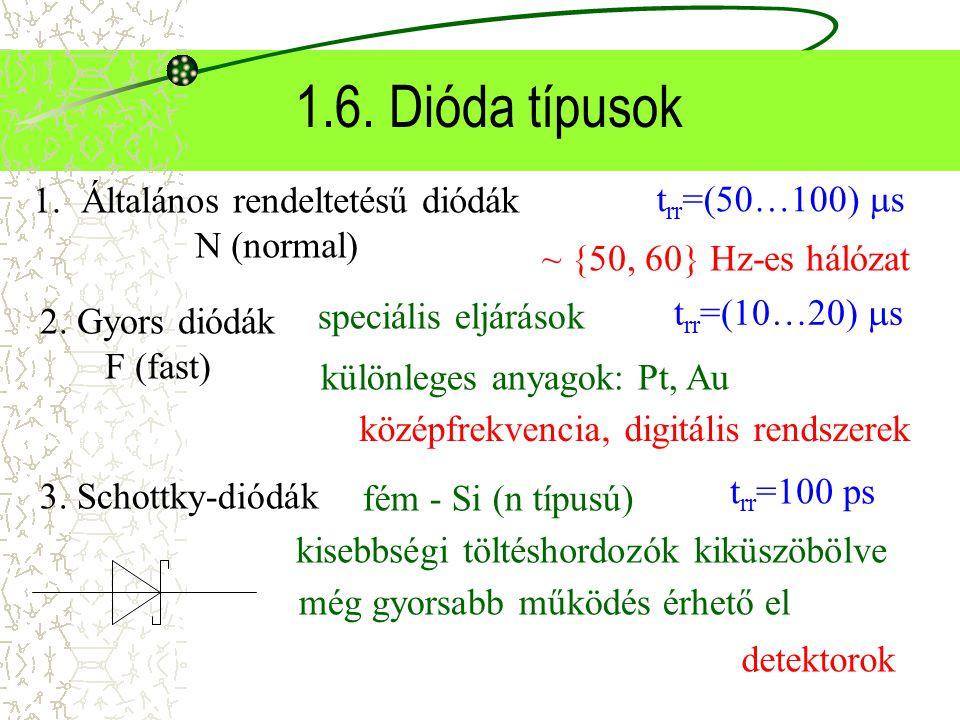 1.6. Dióda típusok Általános rendeltetésű diódák trr=(50…100) s