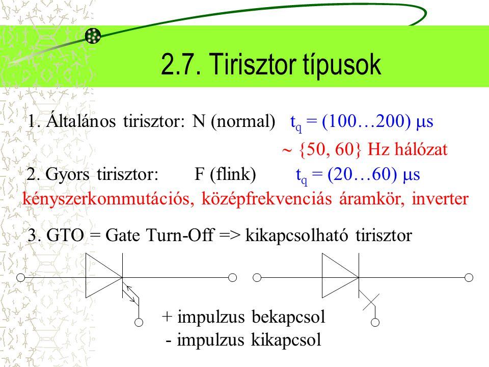 2.7. Tirisztor típusok 1. Általános tirisztor: N (normal)