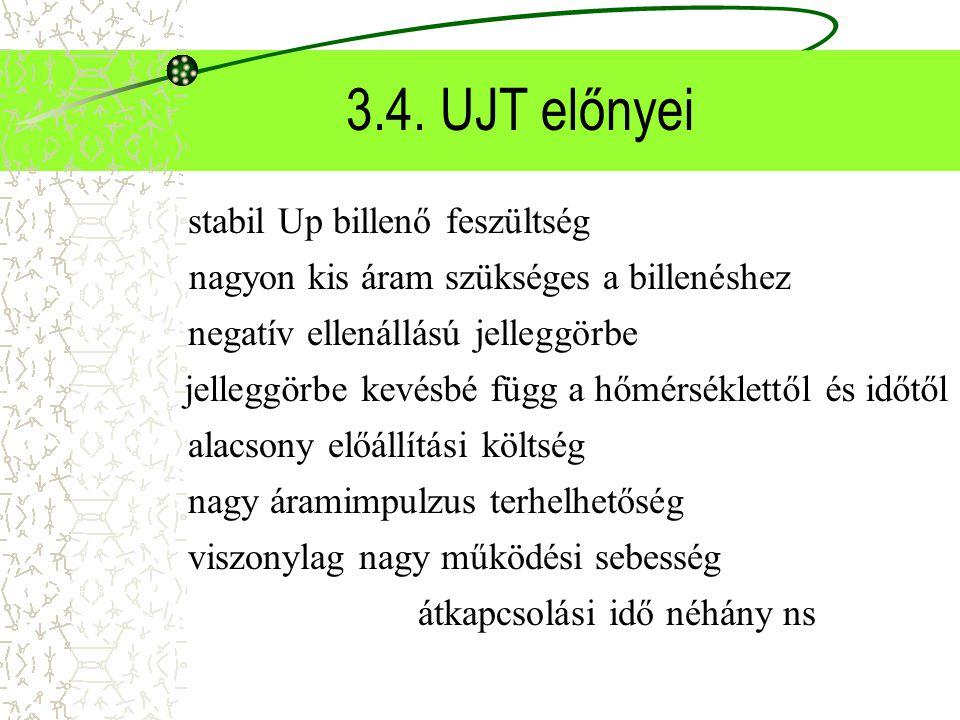 3.4. UJT előnyei stabil Up billenő feszültség