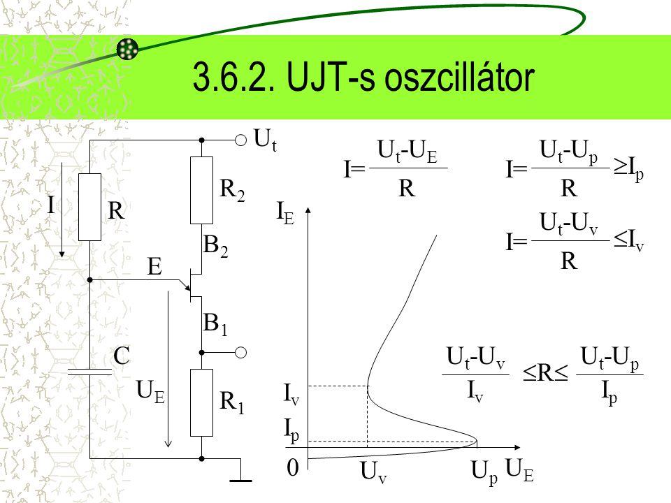 3.6.2. UJT-s oszcillátor Ut B2 B1 E R2 R1 UE R C I= Ut-UE R I= Ut-Up R