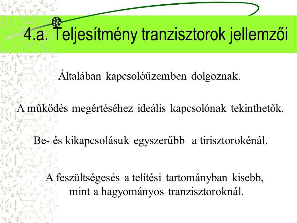 4.a. Teljesítmény tranzisztorok jellemzői