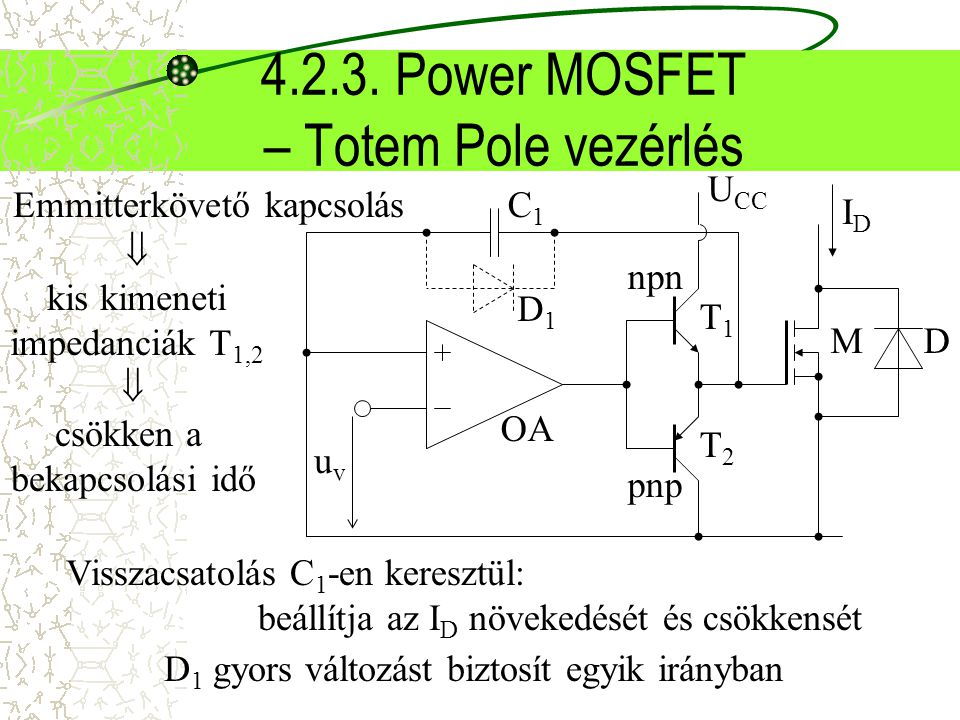 4.2.3. Power MOSFET – Totem Pole vezérlés