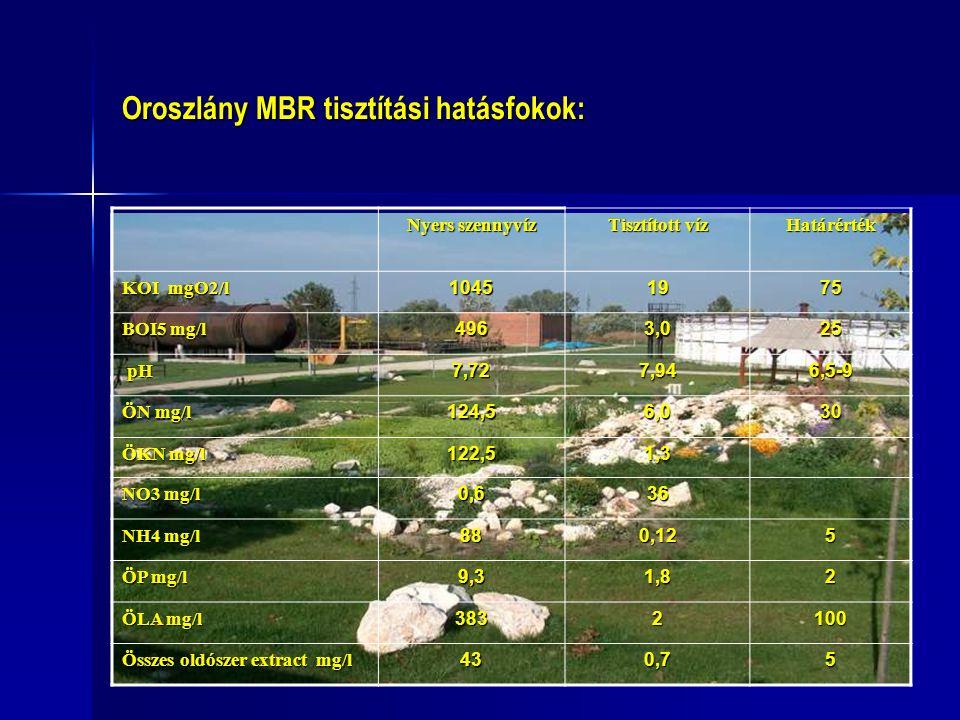 Oroszlány MBR tisztítási hatásfokok: