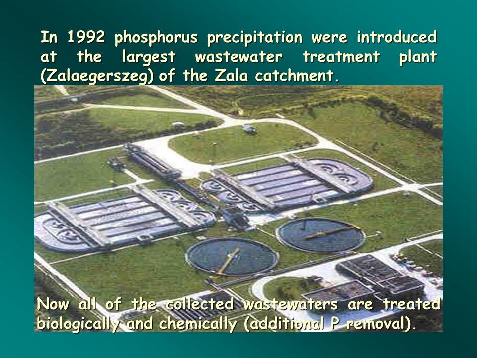 In 1992 phosphorus precipitation were introduced at the largest wastewater treatment plant (Zalaegerszeg) of the Zala catchment.