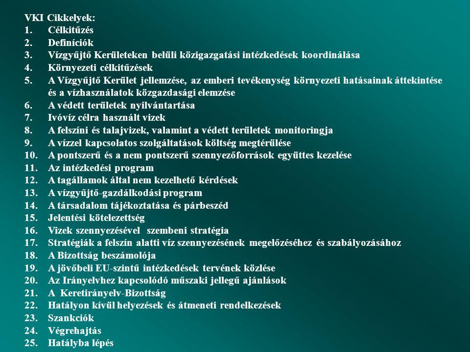 VKI Cikkelyek: Célkitűzés. Definíciók. Vízgyűjtő Kerületeken belüli közigazgatási intézkedések koordinálása.