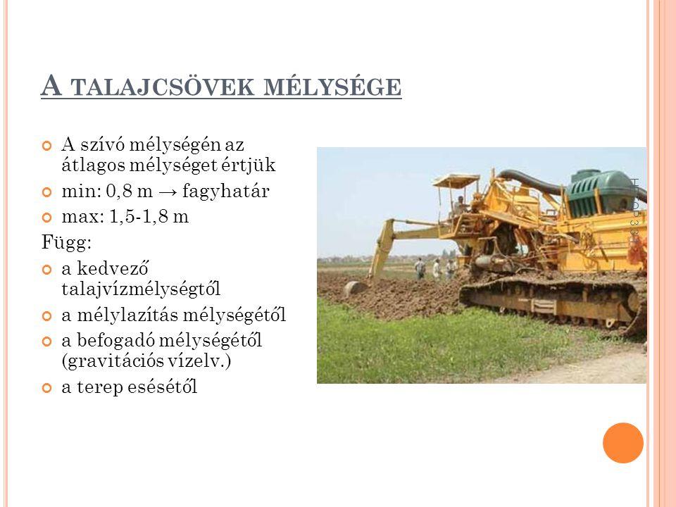 A talajcsövek mélysége