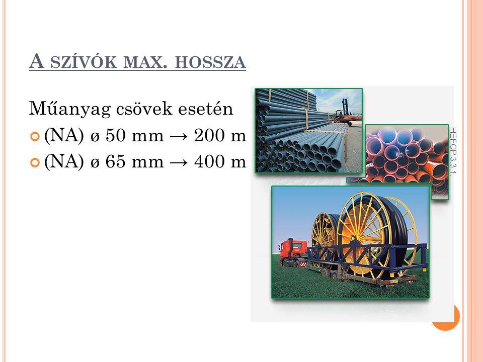 A szívók max. hossza Műanyag csövek esetén (NA) ø 50 mm → 200 m