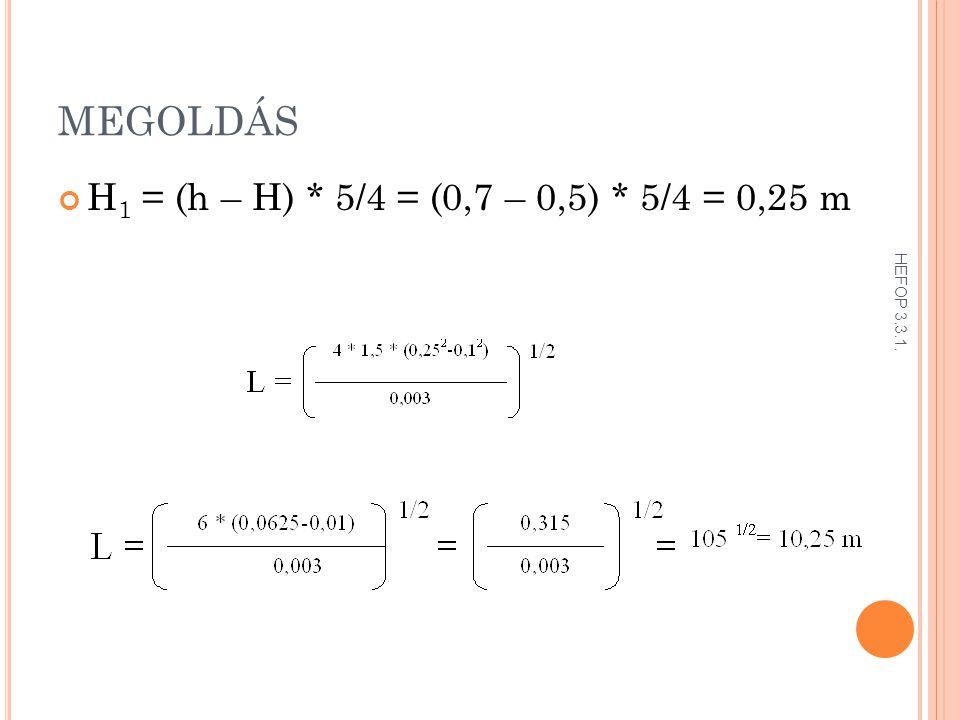 MEGOLDÁS H1 = (h – H) * 5/4 = (0,7 – 0,5) * 5/4 = 0,25 m HEFOP 3.3.1.