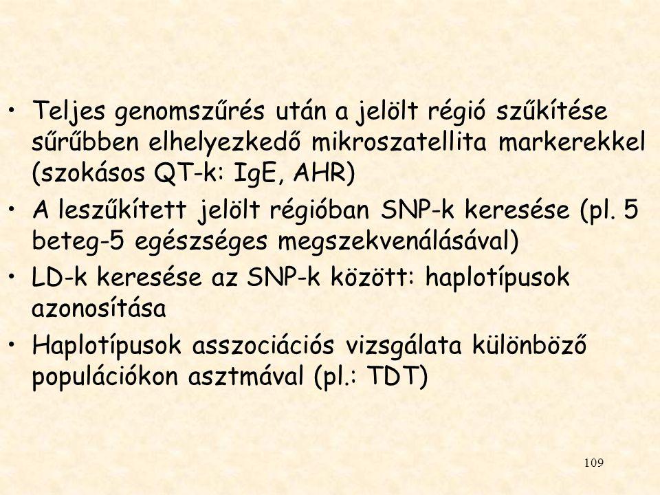 Teljes genomszűrés után a jelölt régió szűkítése sűrűbben elhelyezkedő mikroszatellita markerekkel (szokásos QT-k: IgE, AHR)