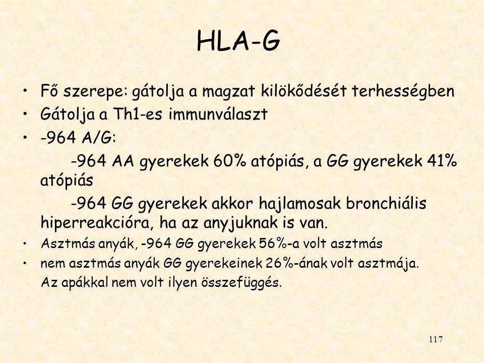 HLA-G Fő szerepe: gátolja a magzat kilökődését terhességben
