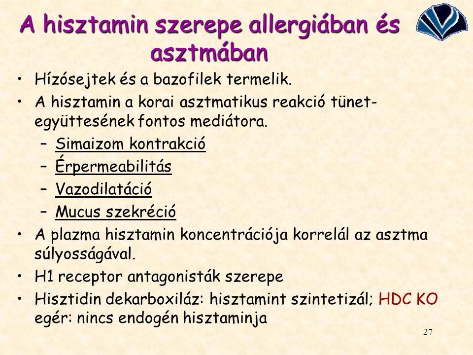 A hisztamin szerepe allergiában és asztmában