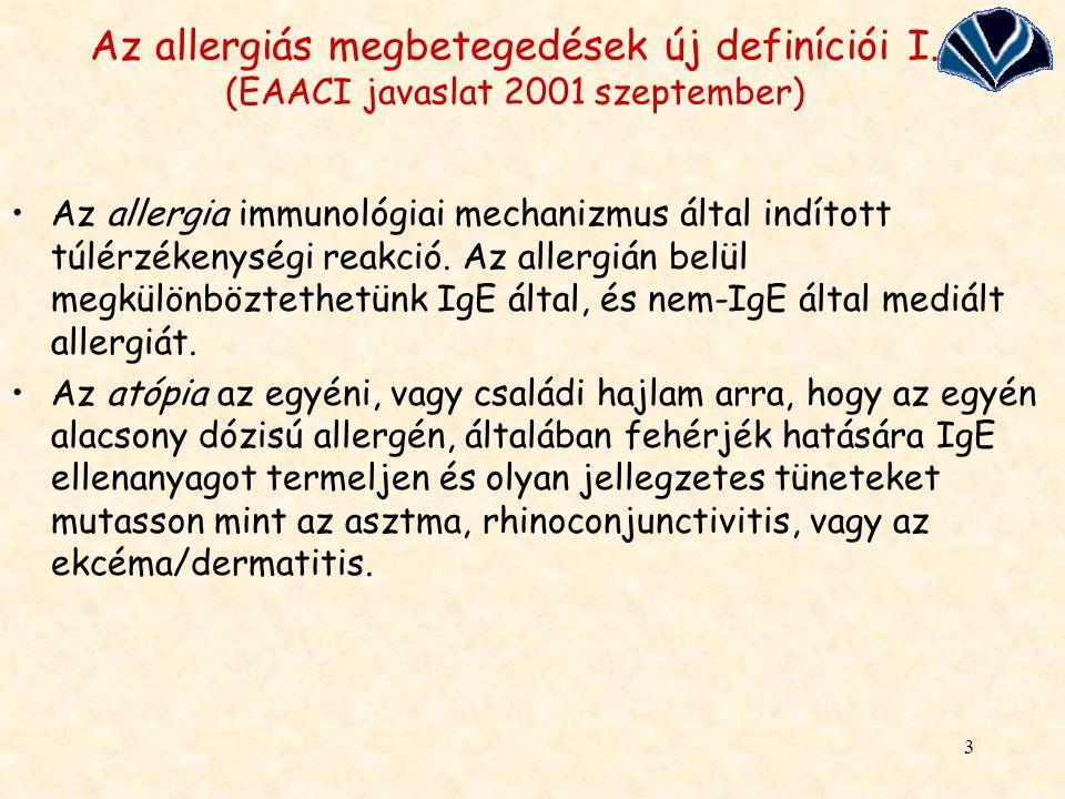 Az allergiás megbetegedések új definíciói I