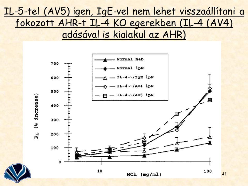 IL-5-tel (AV5) igen, IgE-vel nem lehet visszaállítani a fokozott AHR-t IL-4 KO egerekben (IL-4 (AV4) adásával is kialakul az AHR)