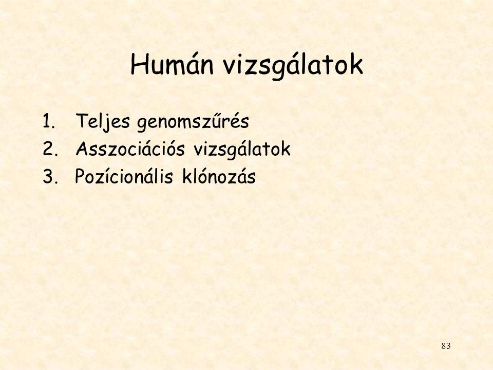 Humán vizsgálatok Teljes genomszűrés Asszociációs vizsgálatok