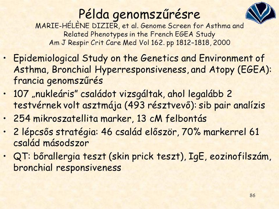 Példa genomszűrésre MARIE-HÉLÈNE DIZIER, et al