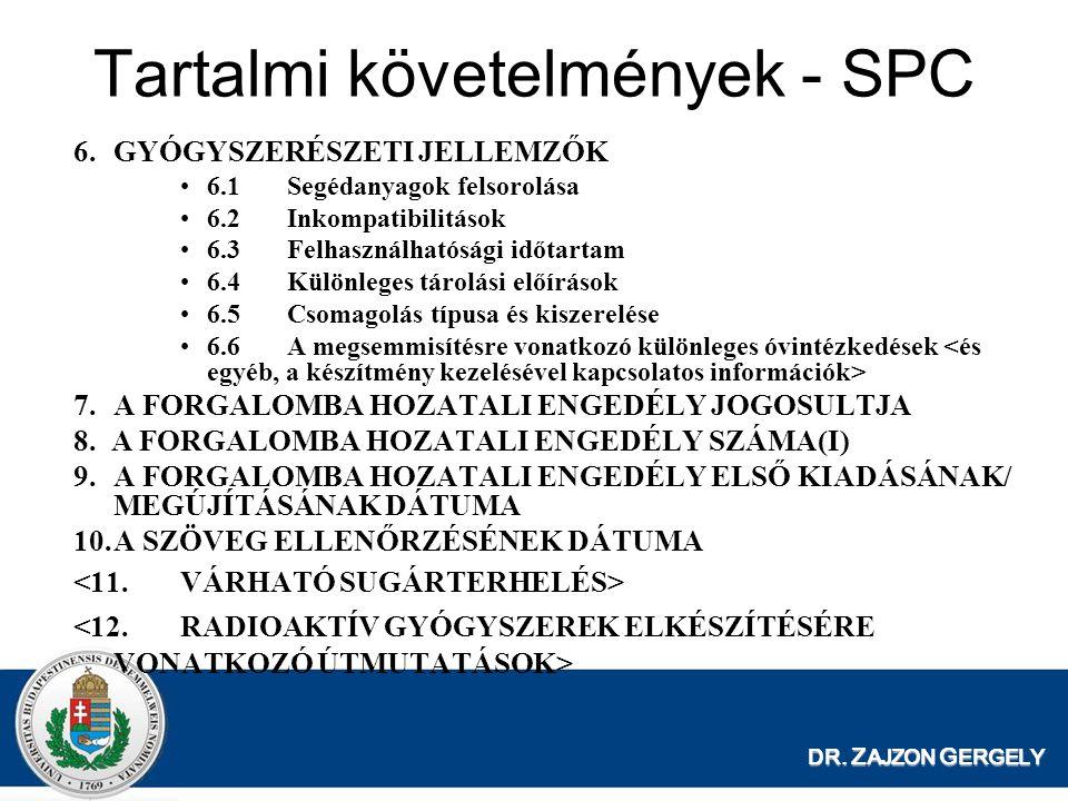 Tartalmi követelmények - SPC