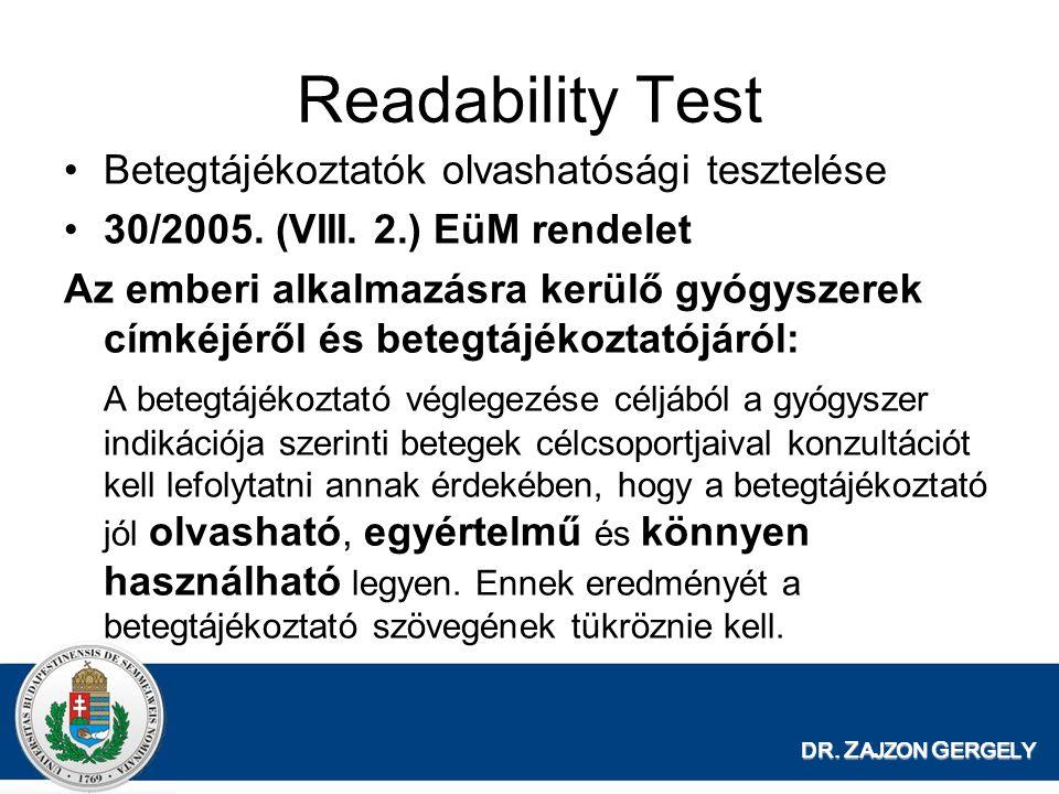 Readability Test Betegtájékoztatók olvashatósági tesztelése