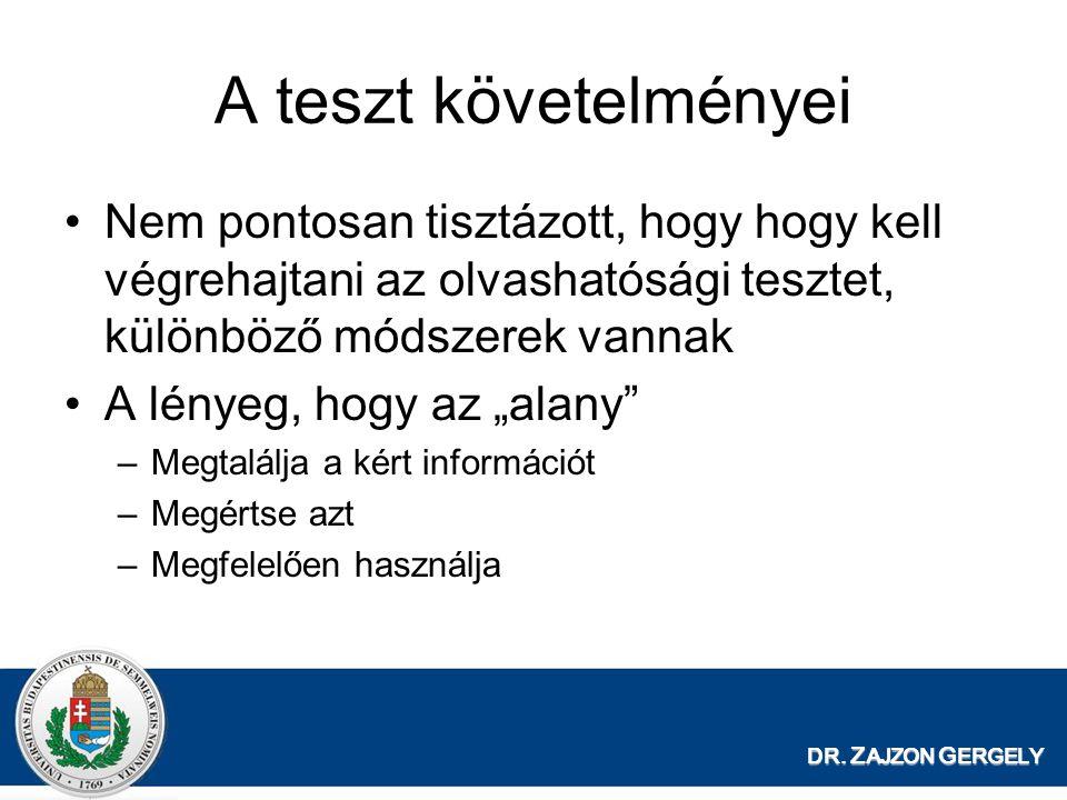 A teszt követelményei Nem pontosan tisztázott, hogy hogy kell végrehajtani az olvashatósági tesztet, különböző módszerek vannak.