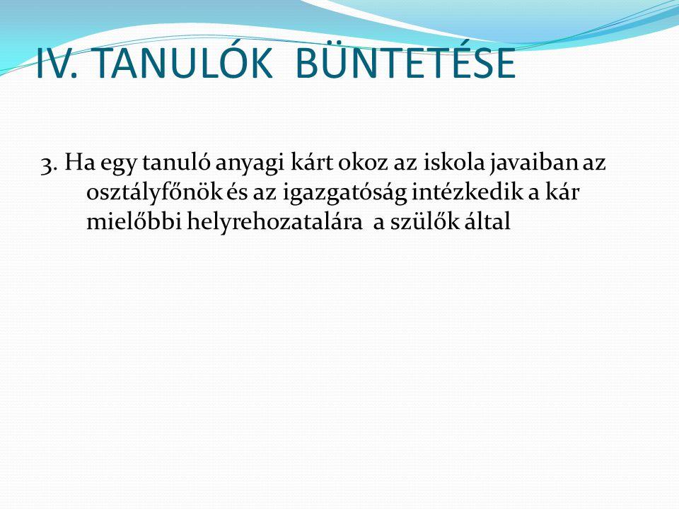IV. TANULÓK BÜNTETÉSE