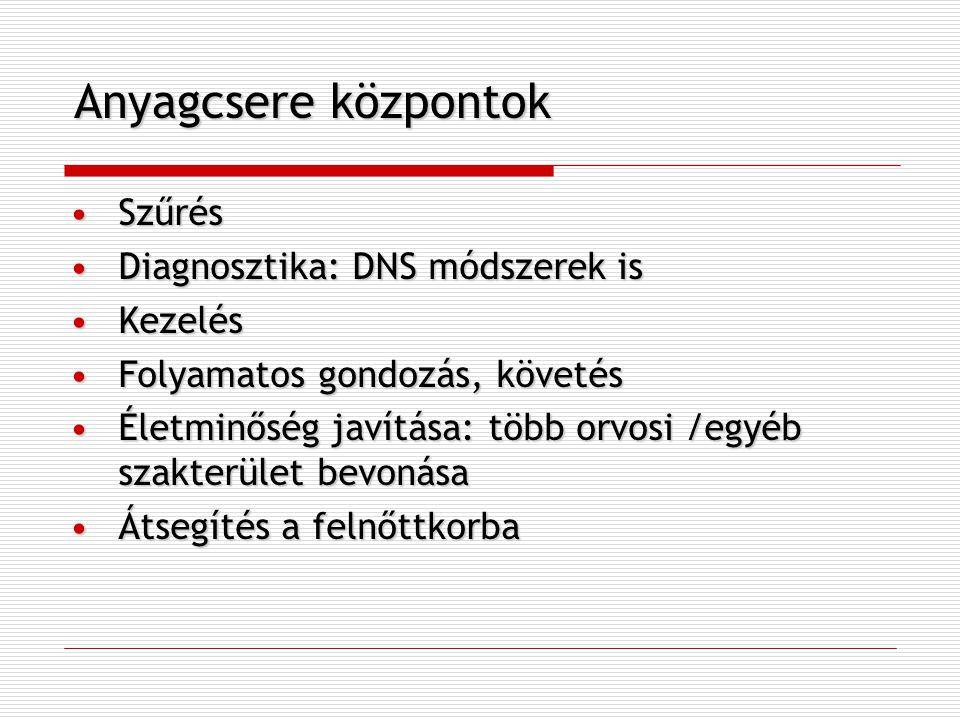 Anyagcsere központok Szűrés Diagnosztika: DNS módszerek is Kezelés