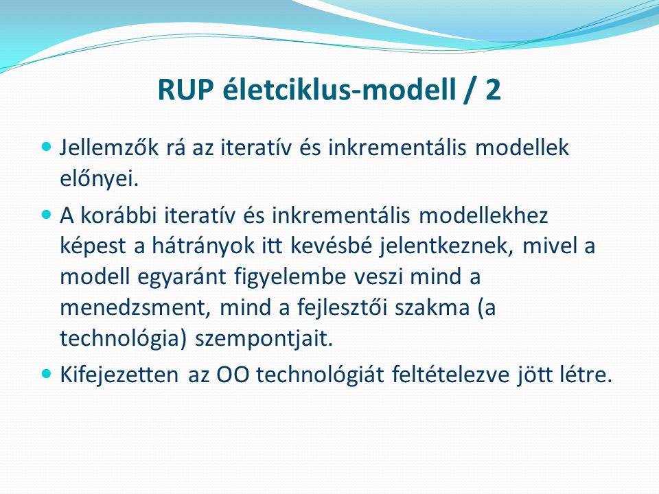 RUP életciklus-modell / 2