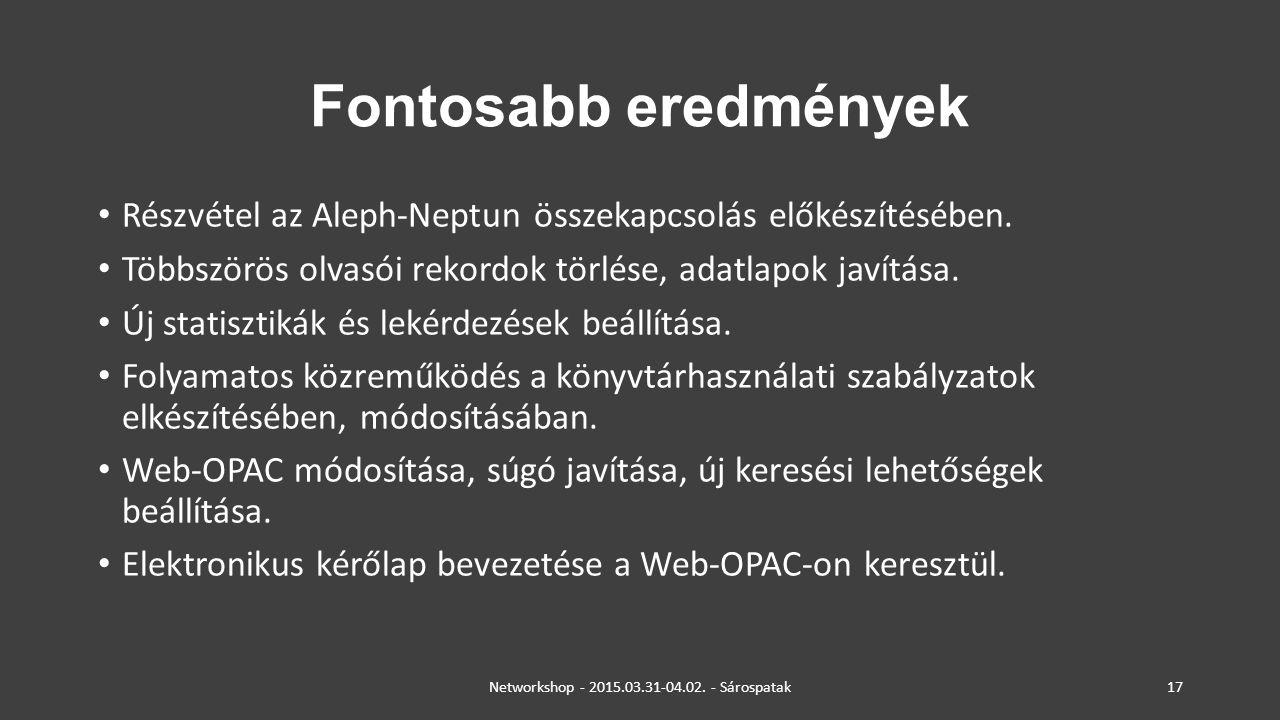 Networkshop - 2015.03.31-04.02. - Sárospatak