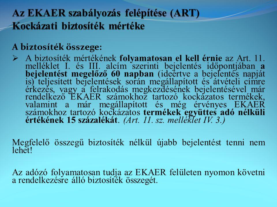 Az EKAER szabályozás felépítése (ART) Kockázati biztosíték mértéke