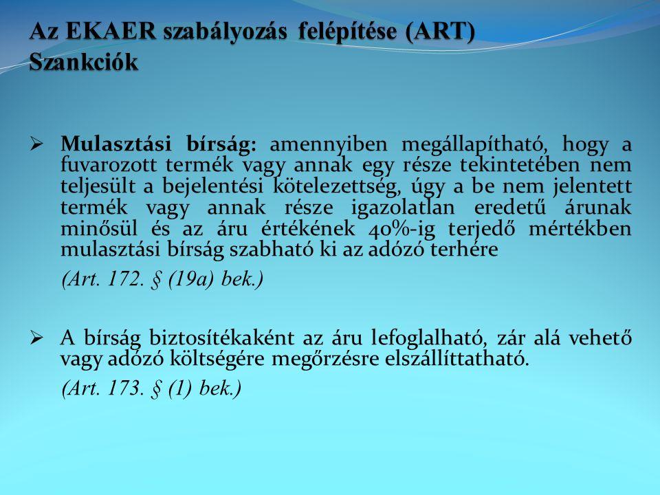 Az EKAER szabályozás felépítése (ART) Szankciók