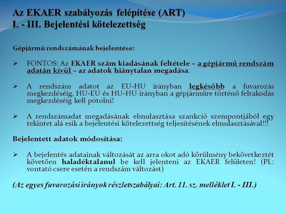 Az EKAER szabályozás felépítése (ART) I. - III