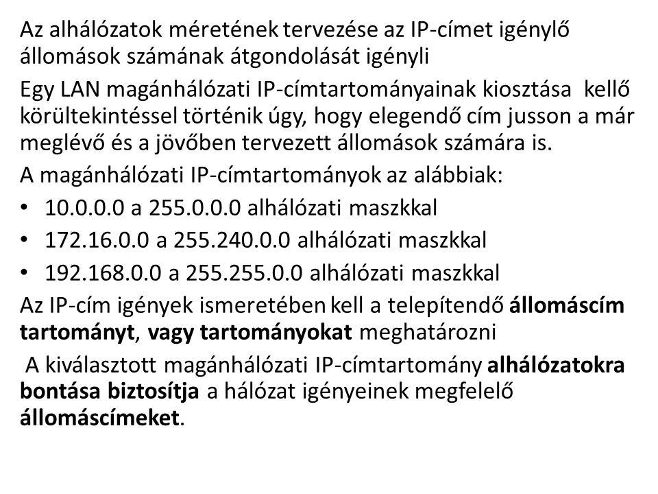 Az alhálózatok méretének tervezése az IP-címet igénylő állomások számának átgondolását igényli