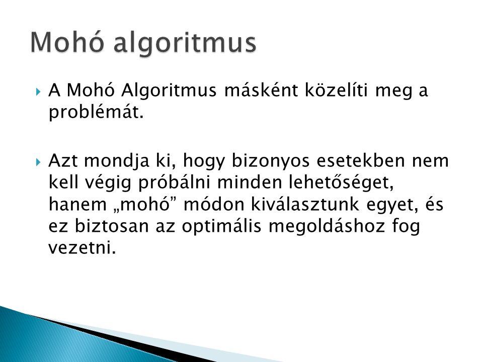 Mohó algoritmus A Mohó Algoritmus másként közelíti meg a problémát.