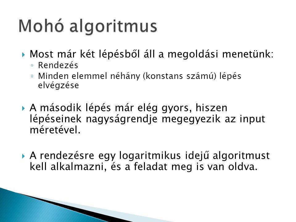 Mohó algoritmus Most már két lépésből áll a megoldási menetünk: