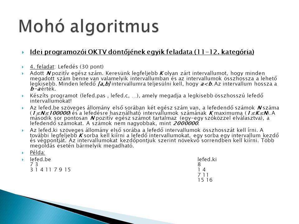 Mohó algoritmus Idei programozói OKTV döntőjének egyik feladata (11-12. kategória) 4. feladat: Lefedés (30 pont)